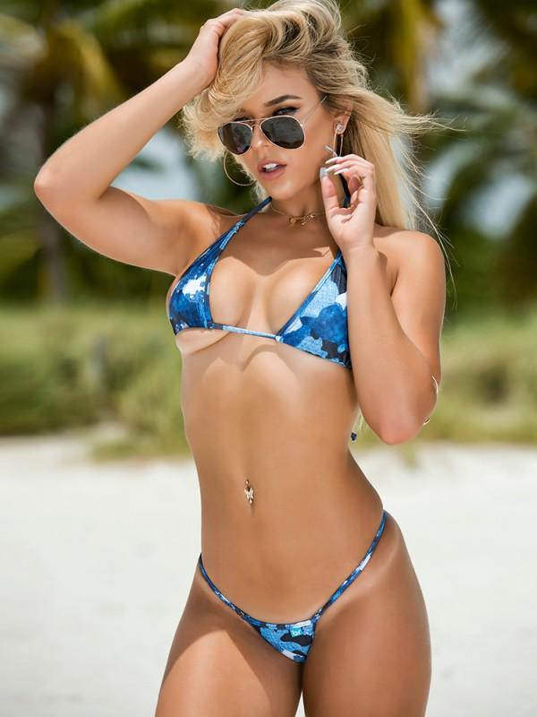 Blue Denim Camo Micro Bikini
