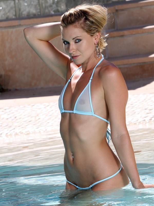 Mini Micro Baby Blue Sheer Bikini