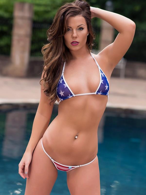 Sheer American Flag Micro Bikini