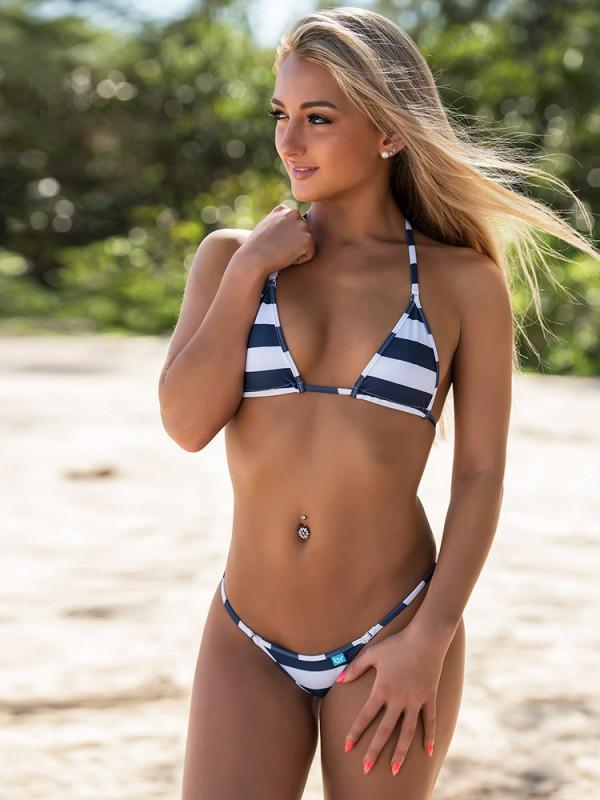 Blue Nautical Stripes Micro Bikini