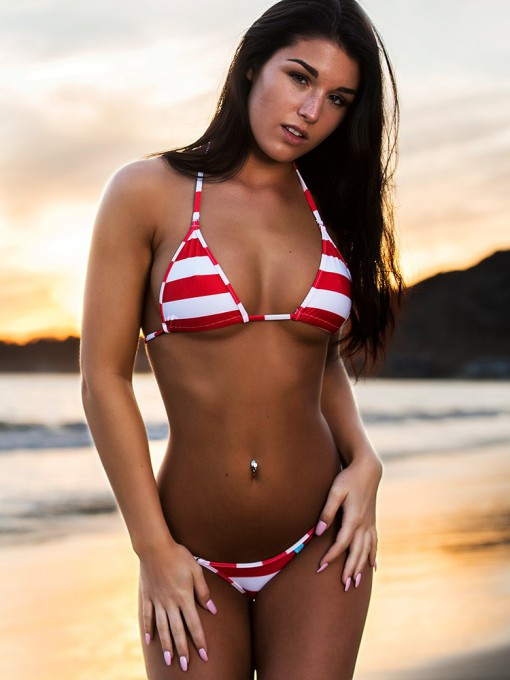 Red Nautical Stripes Micro Bikini