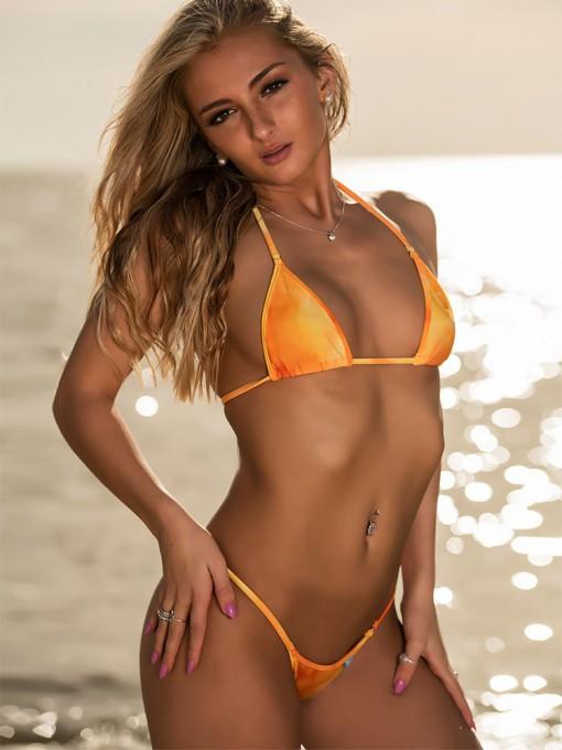 Orange Swirl Tie Dye Micro Bikini